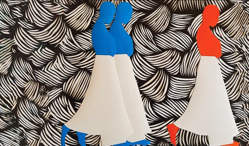 illustration of two blue women and one red woman wearing white skirts and walking against black and white background