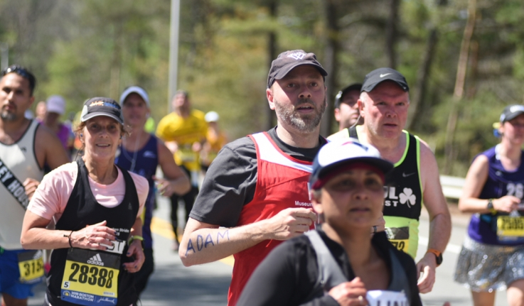 A Wellesley professor runs in the Boston Marathon.