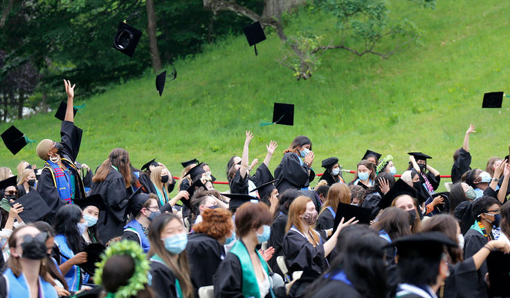 students tossing up their graduation caps