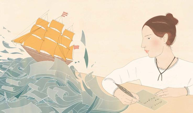 an illustration of Emily Dickinson