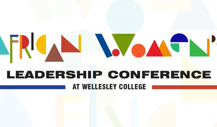 A colorful and bright logo that reads: African Women's Leadership Conference at Wellesley College