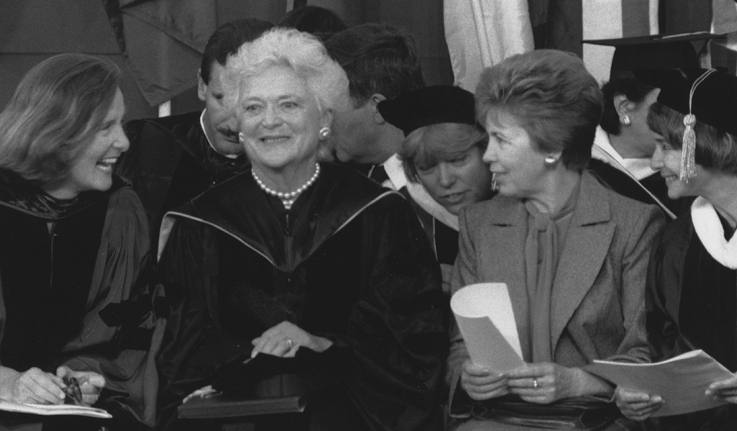 Wellesley College President Nannerl Overholser Keohane '61, Barbara Bush, and Rasia Gorbachev at commencement in 1990.