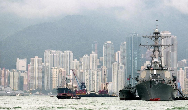 A US ship docked near Hong Kong.