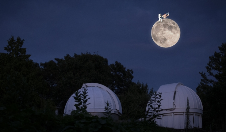 A large full moon with a tiny astronaut holding an American flag floats above the observatory.