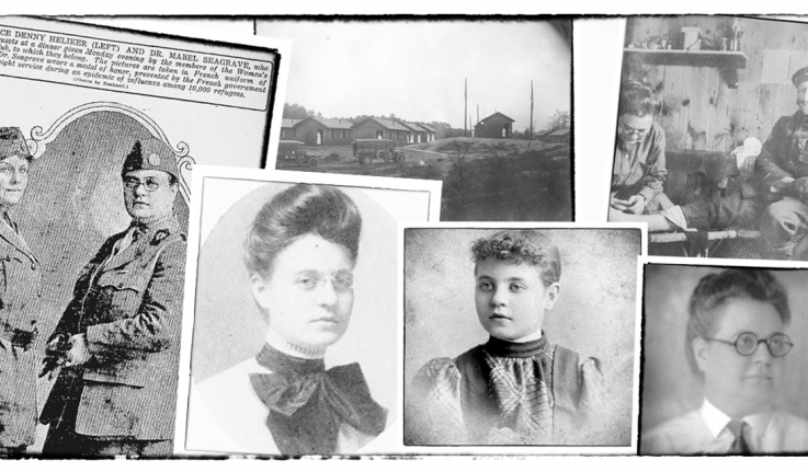 A collection of old photographs of a woman.