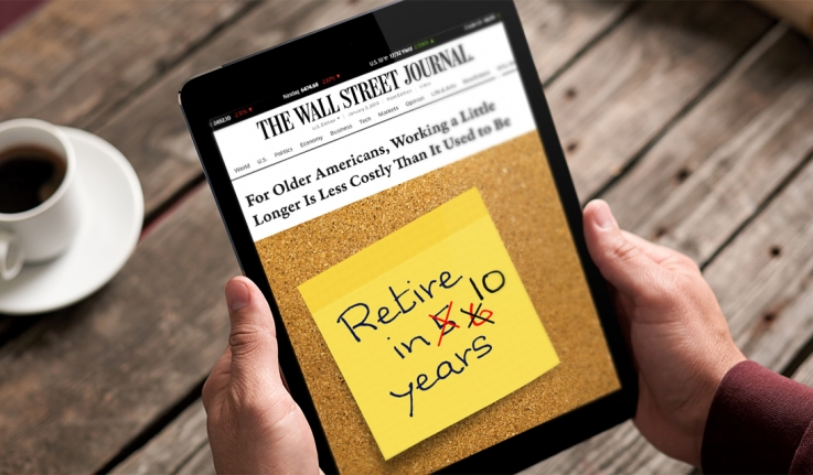 """A person holds a tablet. It reads """" For older Americans, Working a Little Longer is Less Costly Than it  Used to Be"""""""