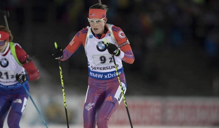 Clare Egan '10 skis in a biathlon event