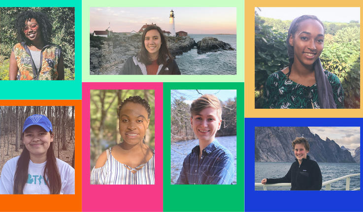 collage of portraits of students with colorful frames