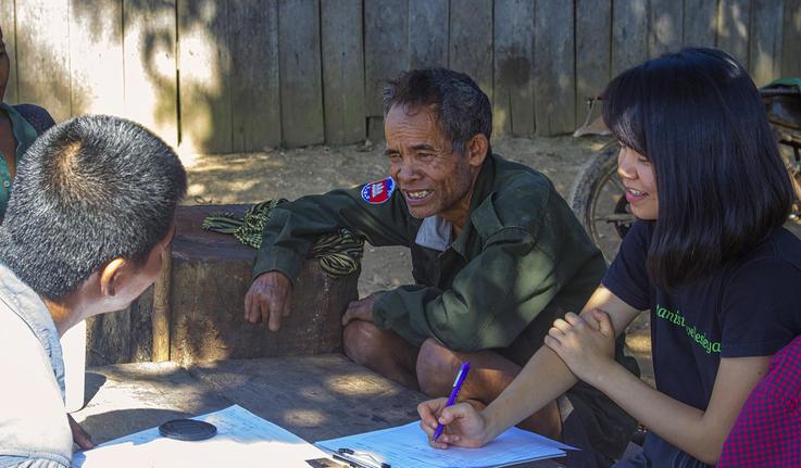 Yuxi doing field research in cambodia
