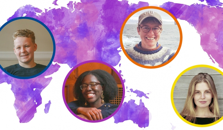 A map or the world in purple. Four images of students and alumnae are placed on the map