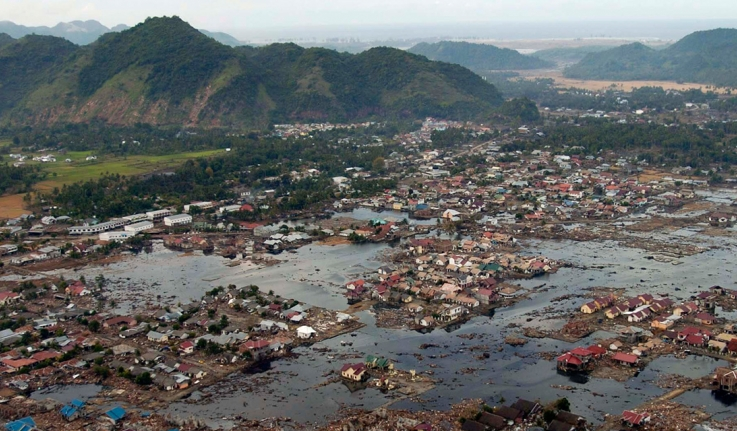 A village near the coast of Sumatra lays in ruin after the Tsunami that struck South East Asia (Jan. 2, 2005)