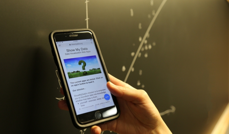 """A close shot of someone holding a phone that reads """"show my data"""" in front of a blackboard with the scatter plot."""