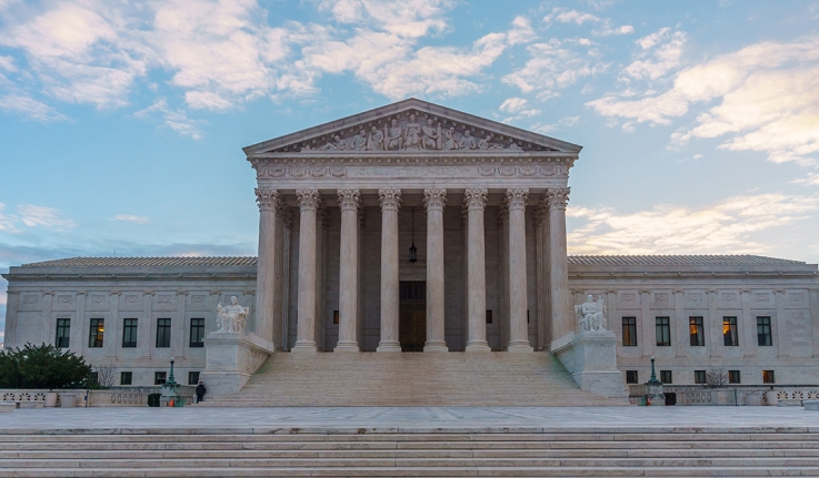 The Supreme Court is seen at dawn.