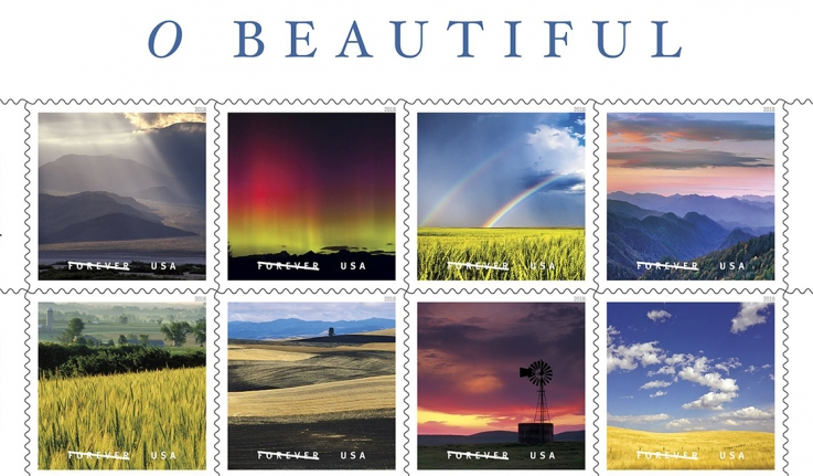 Eight images of the US Postal Service's Forever Stamps depicting scenes of Spacious Skies and Waves of Grain across the U.S.