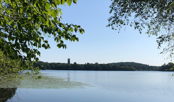 A view of Galen Stone Tower across Lake Waban