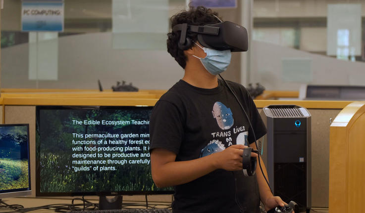 a person wearing VR glasses