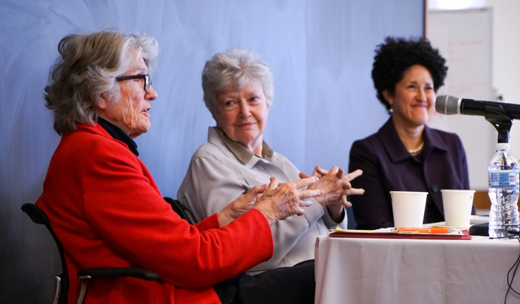 Former Wellesley President speaks to an audience about the Wellesley Centers for Women