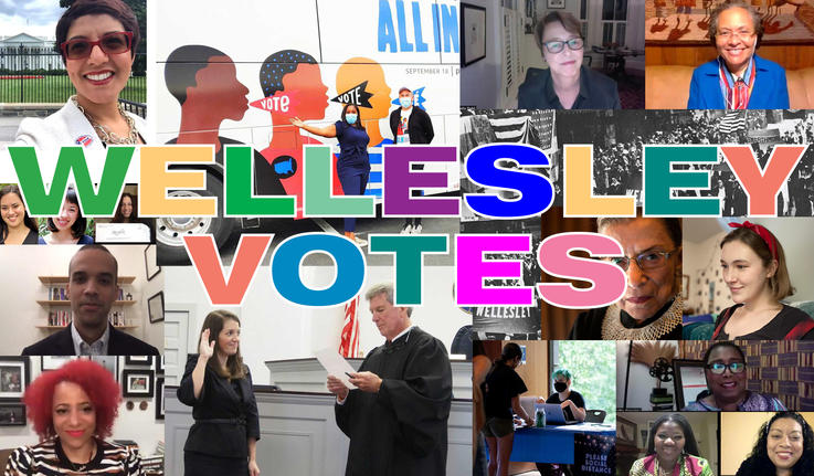 """image collage of people with the words """"wellesley votes"""""""
