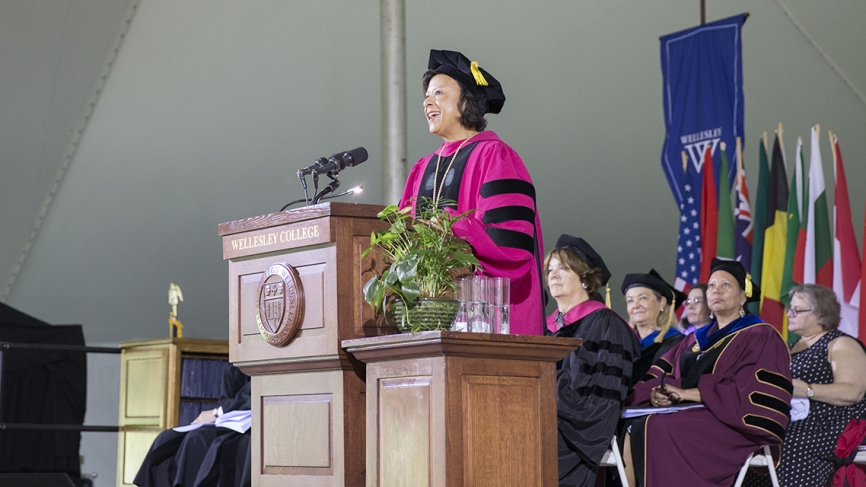 President Paula A. Johnson speaks to the class of 2018.