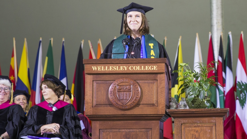 Marley Forest '18, this year's student speaker, addressed her classmates.