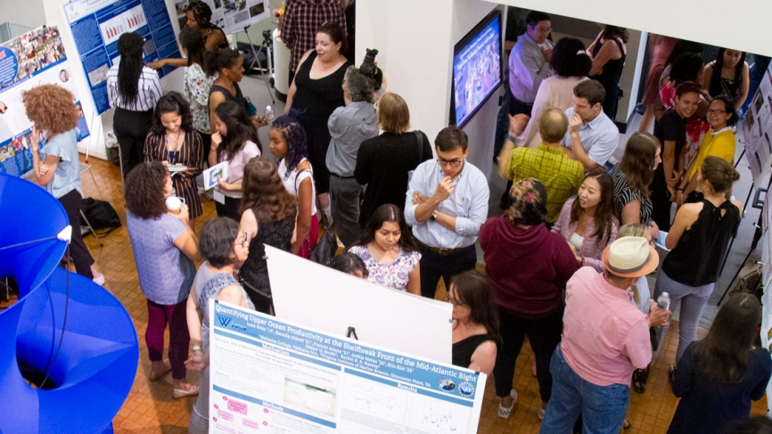 A bird's eye view of the poster session in Pendleton atrium