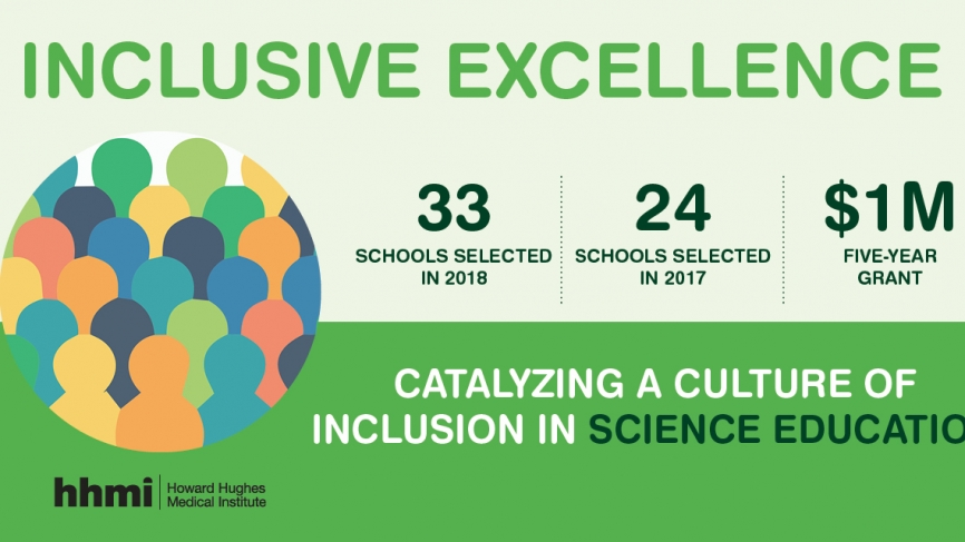 Graphic that reads: 33 schools selected in 2018, 1M$ five year grant, Catalyzing a Culture of Inclusion in Science Education