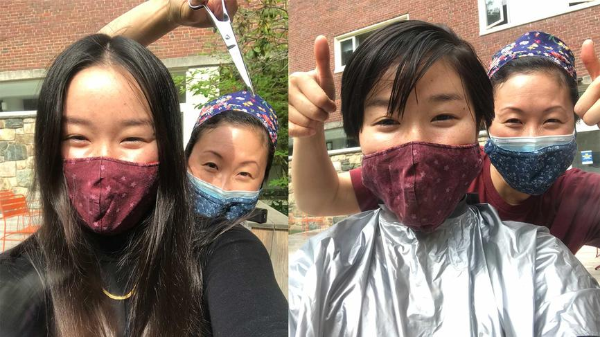 Raine Higa '23 before and after a haircut from director of residential life Helen Wang.