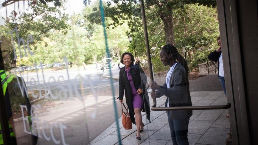 Dr. Johnson arriving at Alumnae Hall