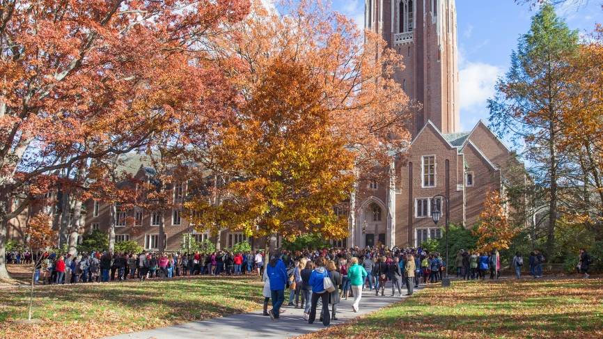 the community gathers on the Academic Quad
