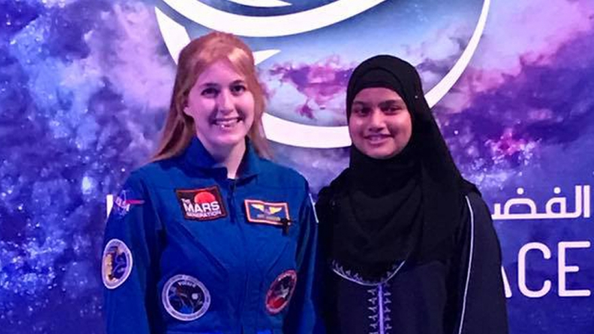 Harrison with Sahda, a 13-year-old Mission to Mars Student Space Ambassador