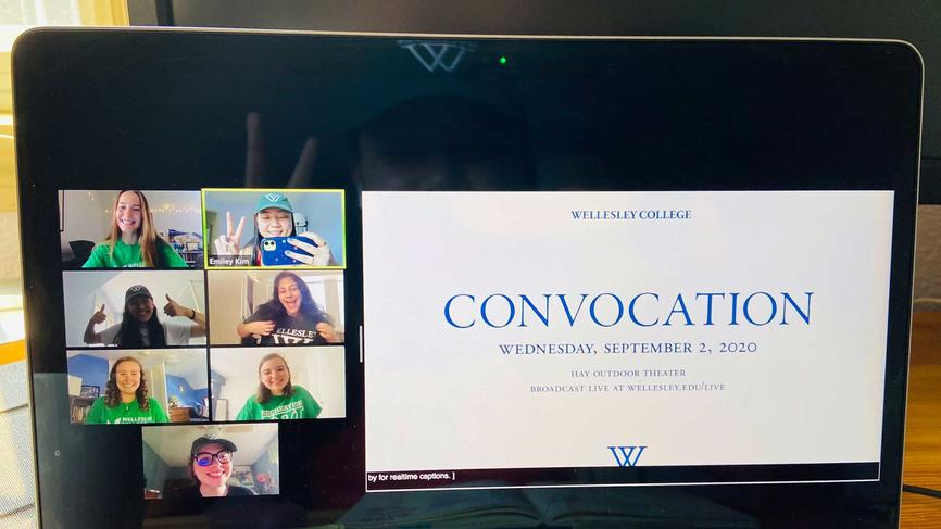 image of a computer screen livestreaming convocation