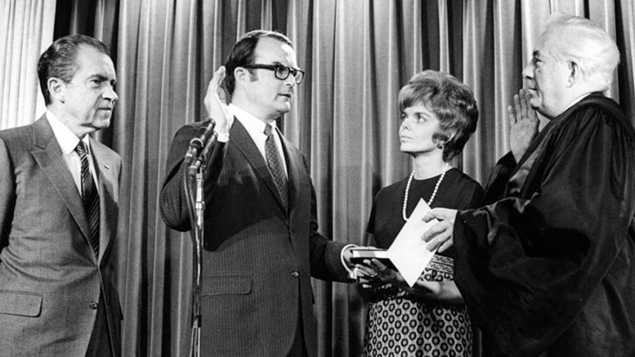 William Ruckelshaus being sworn in as first EPA administrator.