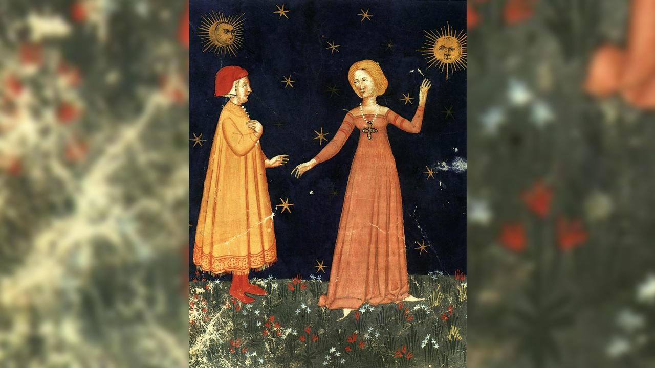 Antique book manuscript illustration of Dante and Beatrice
