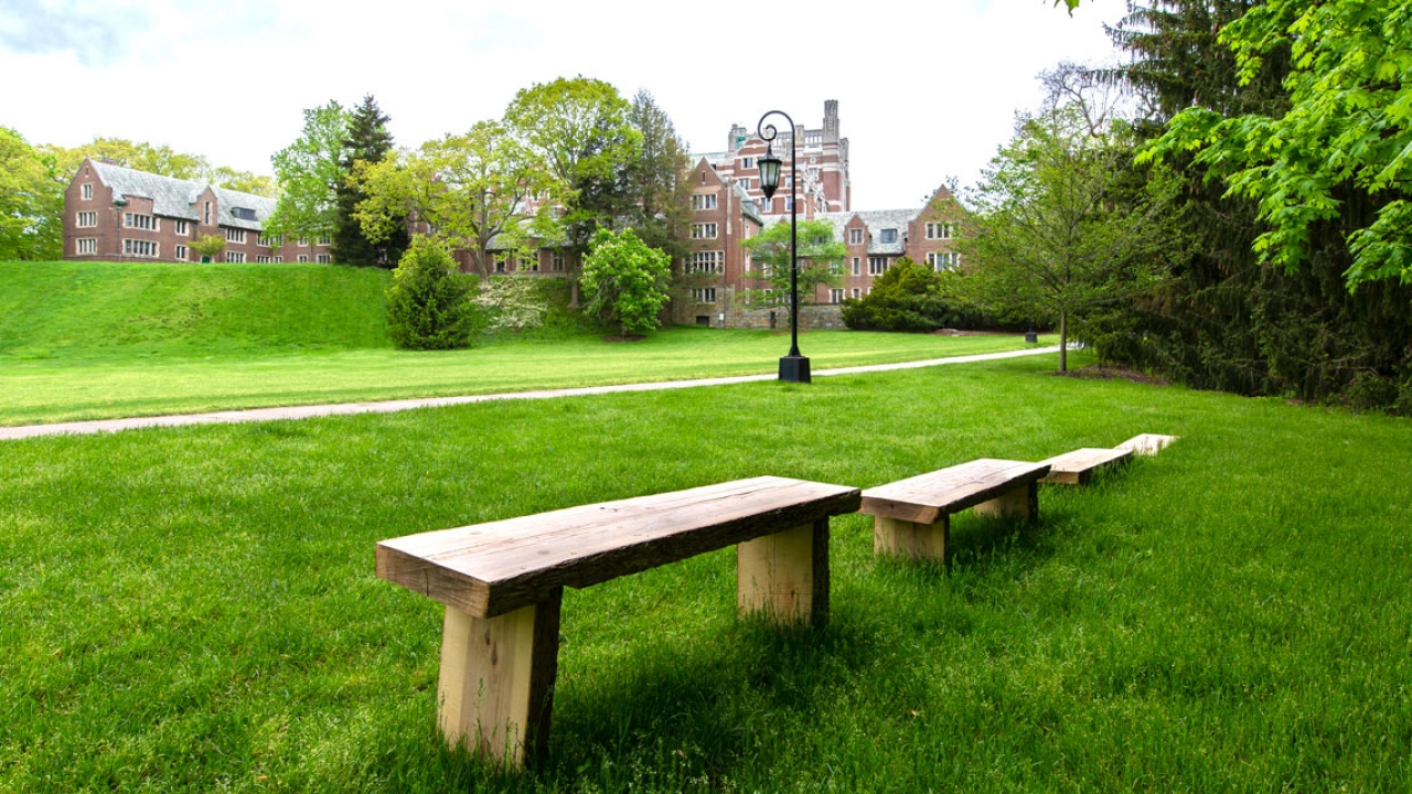 Four benches made of wood and by students overlooking Severance Green