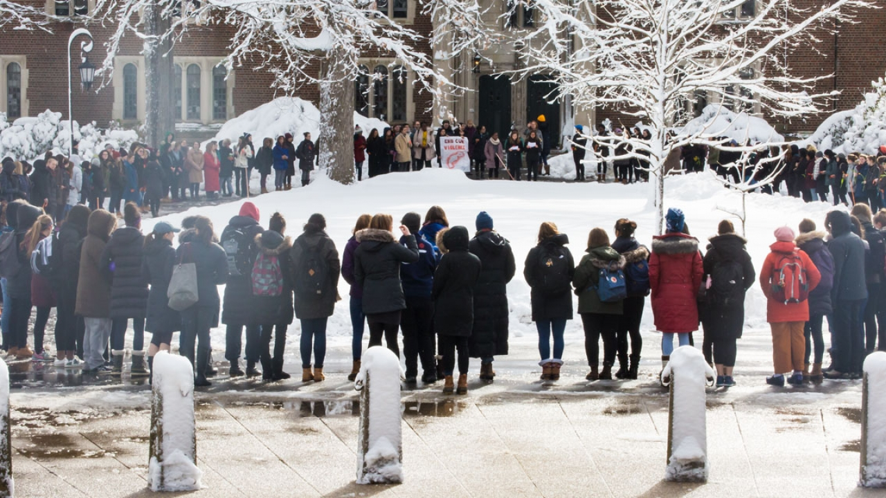 Students faculty and staff gathers to honor victims of Parkland, Fla., High School tragedy.
