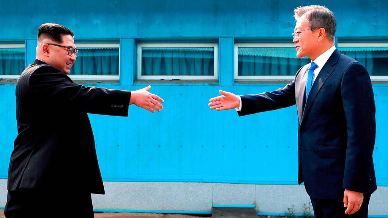 Kim Jong Un and Moon Jae-in meet for the first time.