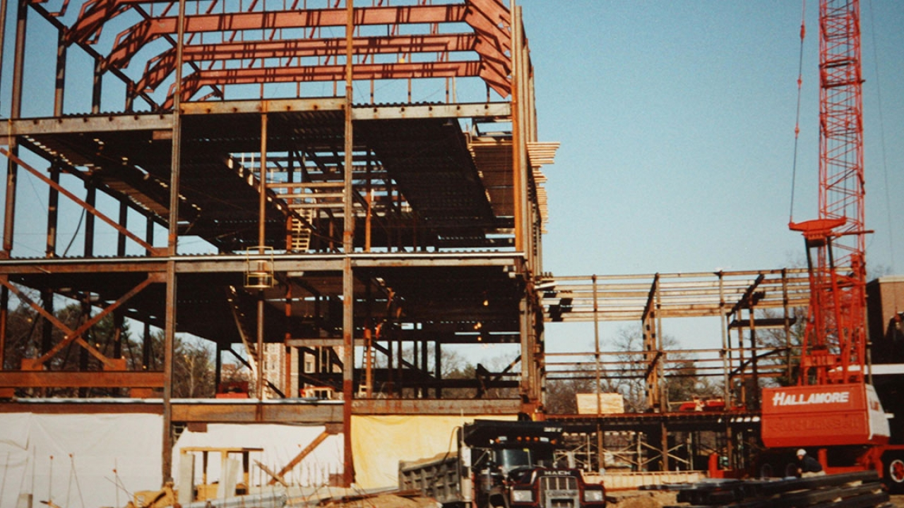 The Davis Museum under construction in the early 90s.