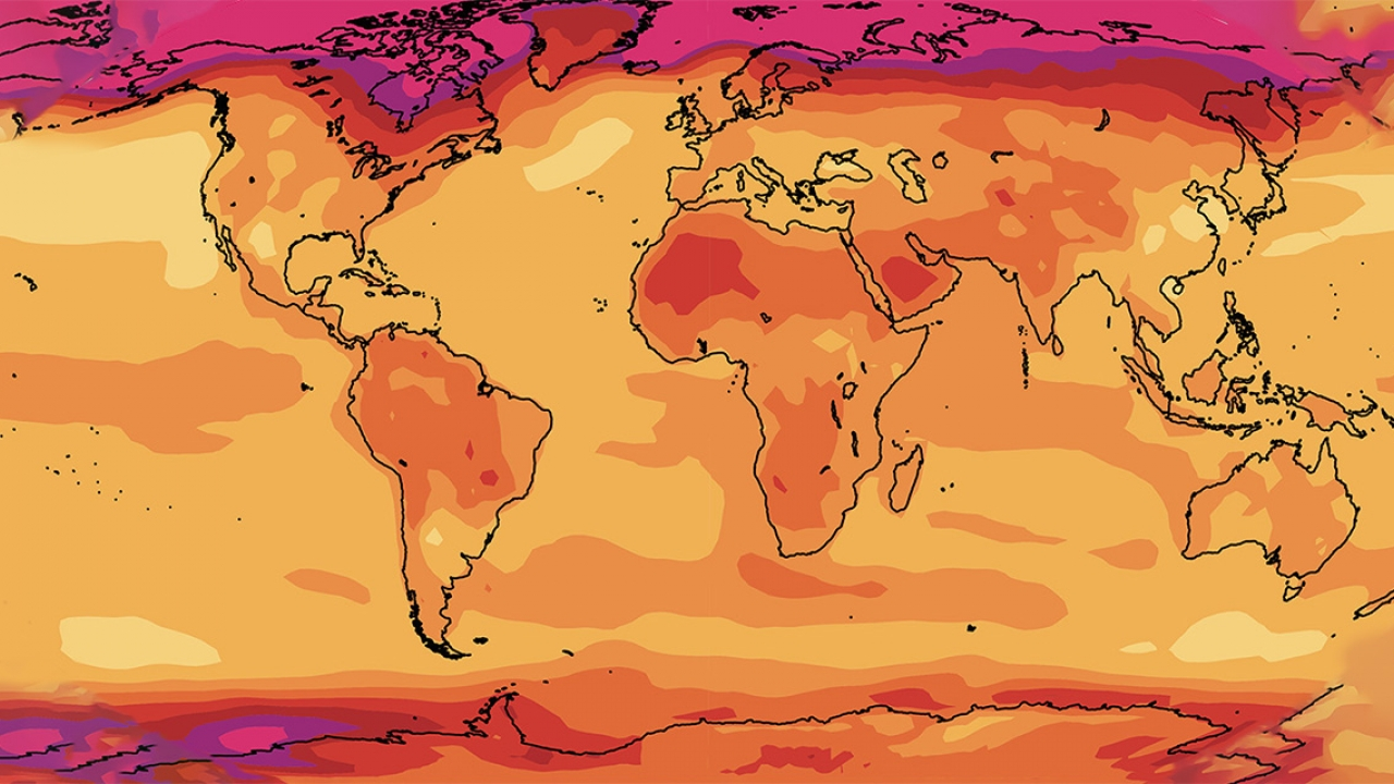 A heat map of the world with temperature markers.