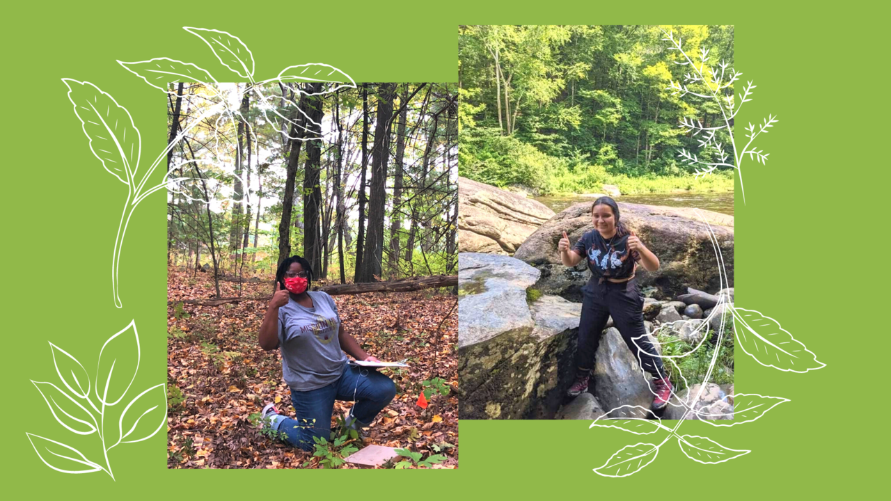 image collage of Jada and and Angela in the woods