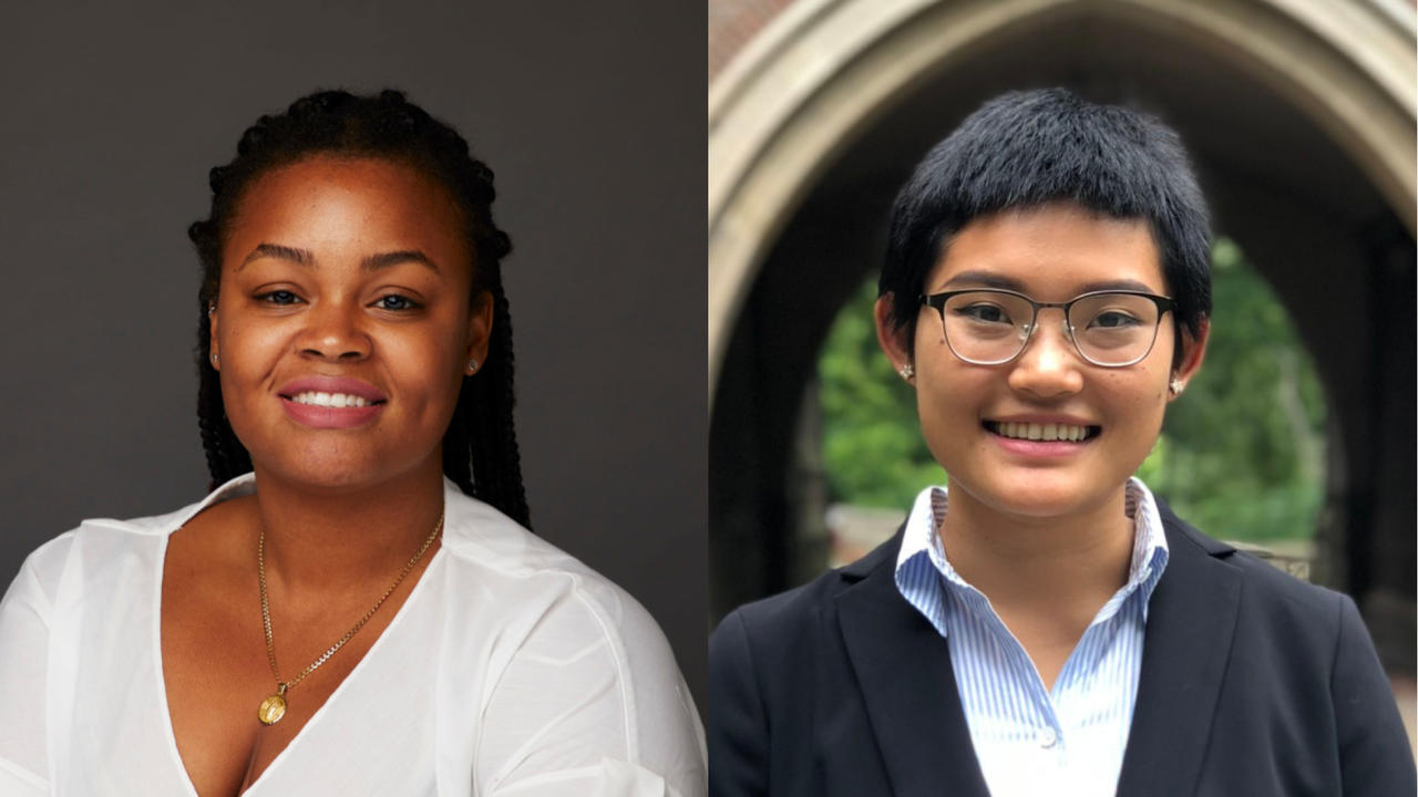 Withney Barthelemy '20 and Yi Chen '18