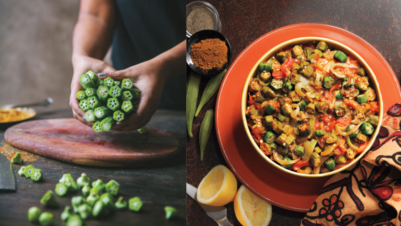 a person holding a bunch of okra next to a pot of Okra Curry
