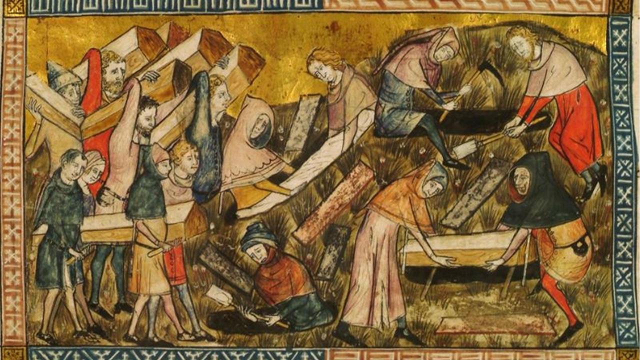 """pandemic art """"Citizens of Tournai bury their plague dead"""""""