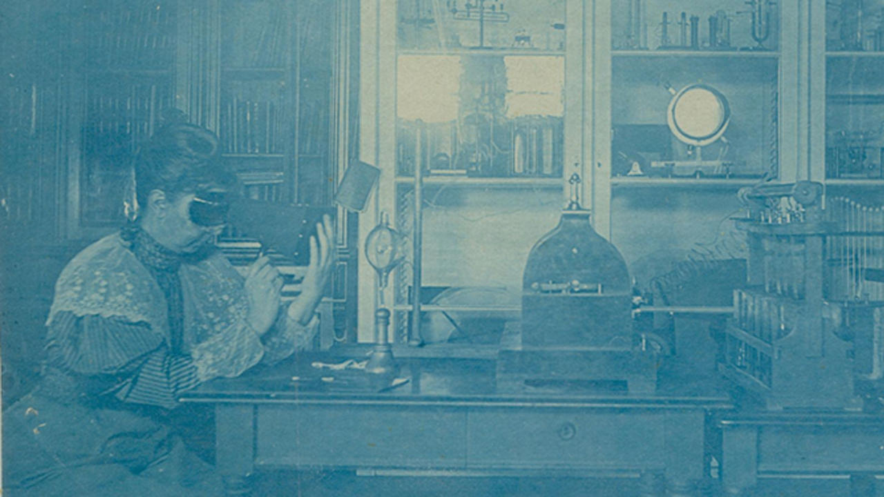Sarah Frances Whiting (1847–1927) uses a fluoroscope to examine the bones in her hand in Wellesley College's physics laboratory