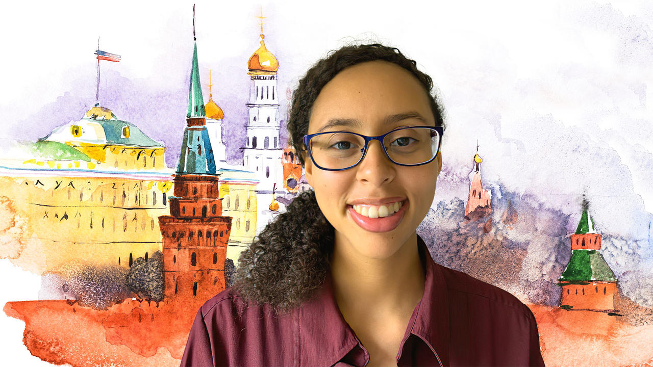 image of Kiana Nedele '16 against a drawing of moscow