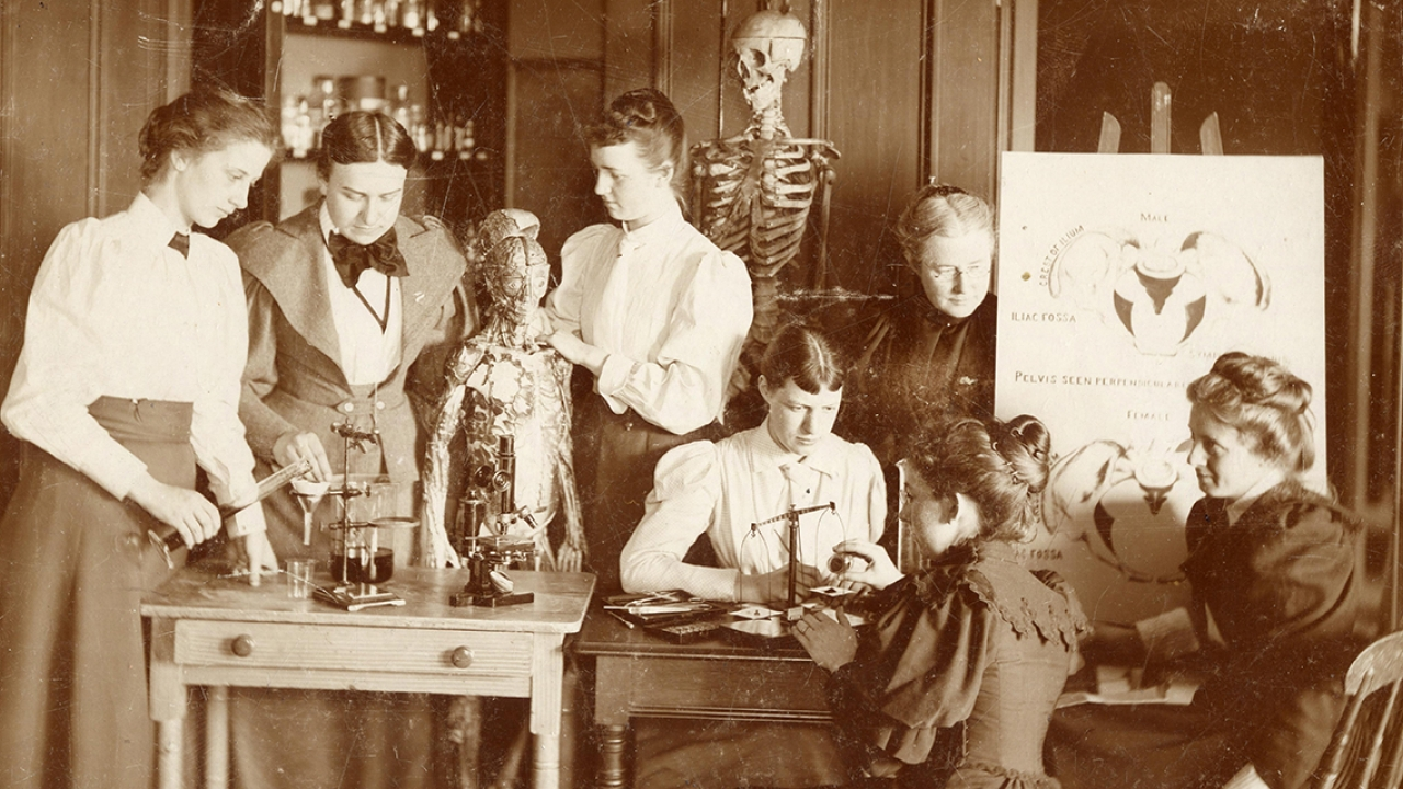 Wellesley College students work in a lab with anatomical skeletons similar to those found at the archeological site.