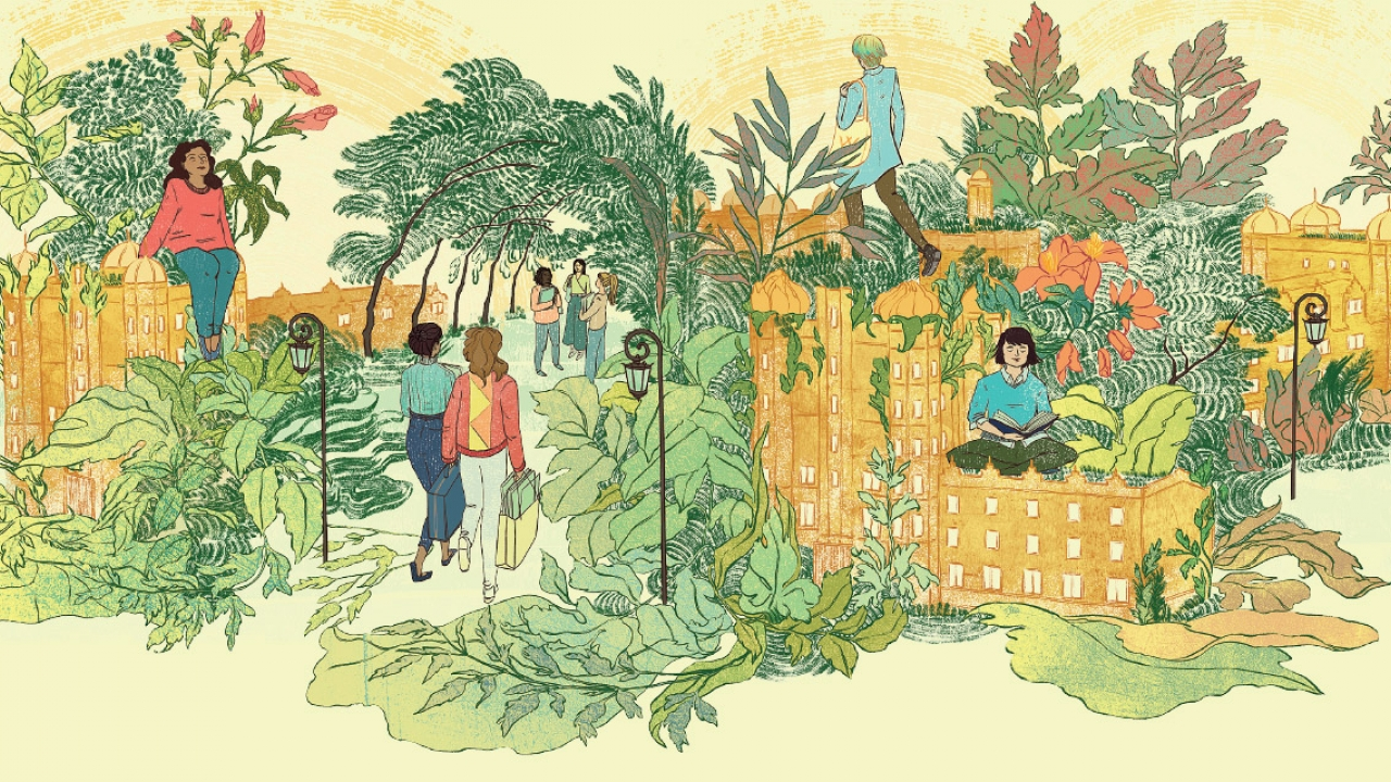 A drawing of the Wellesley College campus, students on campus