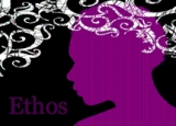 Illustration of a profile of a woman with swirls at her head depicting Ethos