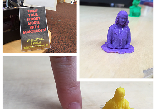 Image collage showing several printed 3D portraits and size comparison with human finger