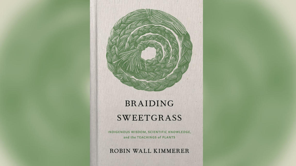 "image of the book cover that says ""braiding sweetgrass by Robin Kimmerer"""