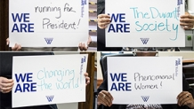 """Signs reading """"We are..."""" completed by ideas defining Wellesley"""